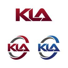 Modern 3 Letters Initial Logo Vector Swoosh Red Blue Kla