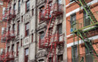 Old buildings with fire stairs in New York City