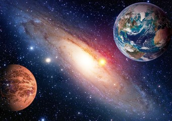 FototapetaSpace planet galaxy milky way Earth Mars universe astronomy solar system astrology. Elements of this image furnished by NASA.