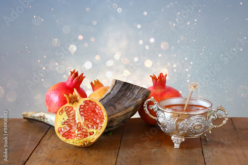 Rosh hashanah (jewesh New Year holiday) concept. Traditional sym