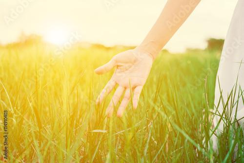 Fotografia  Young Woman Enjoying Nature.