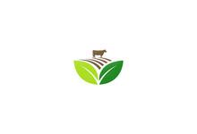 Farm Land Cow Vector Logo