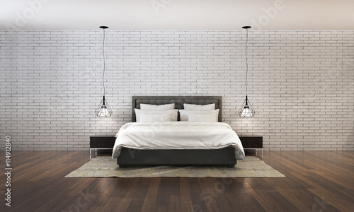 Fotografía  3d rendering of bedroom design with concrete brick wall