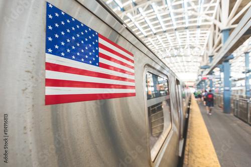 United States flag on a subway train Canvas Print