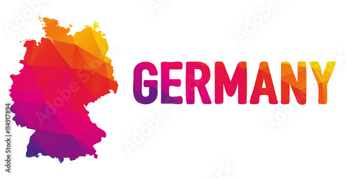 Photo Low polygonal map of Germany in warm colors, Deutschland, Federal Republic of Ge
