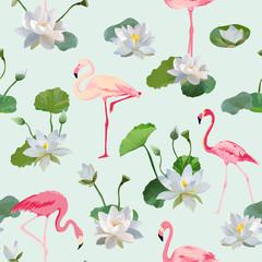 FototapetaFlamingo Bird and Waterlily Flowers Background. Retro Seamless Pattern