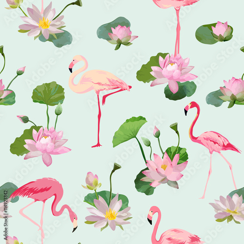 Foto  Flamingo Bird and Waterlily Flowers Background