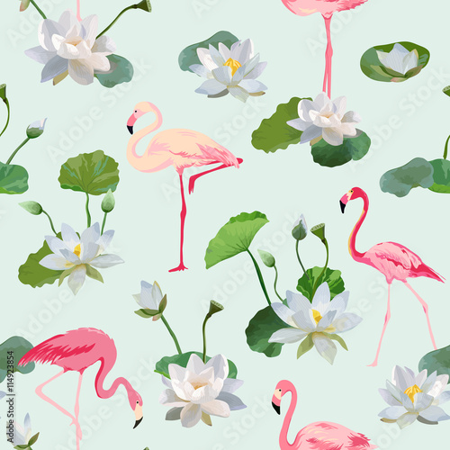 Leinwand Poster  Flamingo Bird and Waterlily Flowers Background