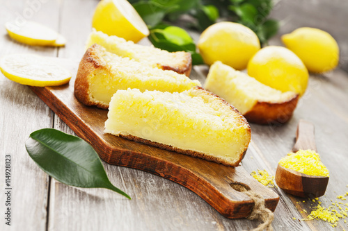fototapeta na lodówkę Lemon pie with yellow coconut