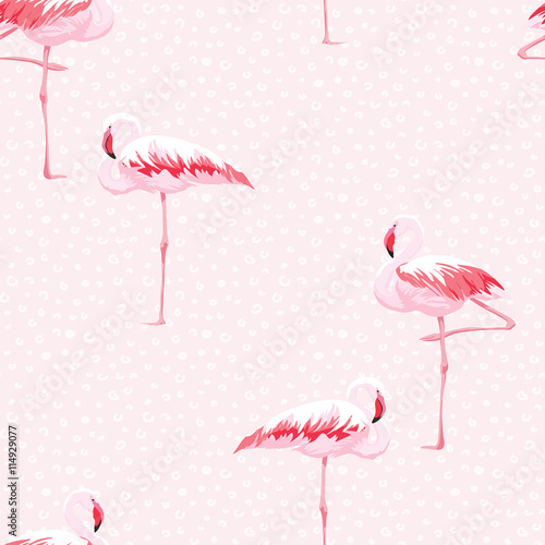 In de dag Flamingo vogel Pink flamingo seamless pattern