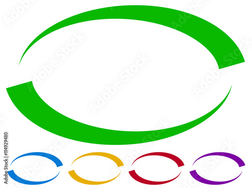 Oval frames - borders in five colors. Colorful design elements. Canvas Print