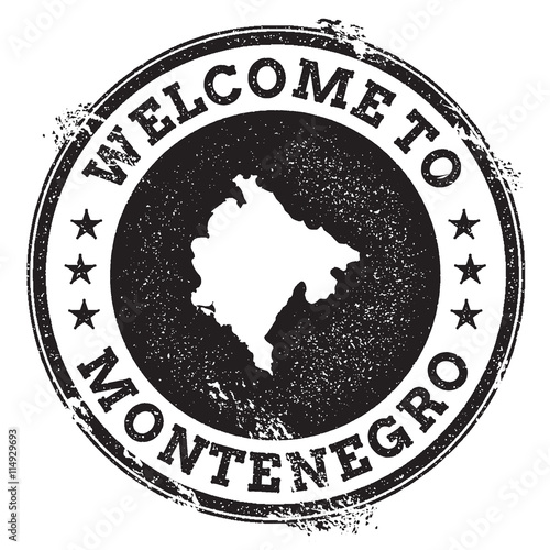 Vintage Passport Welcome Stamp With Montenegro Map Grunge Rubber