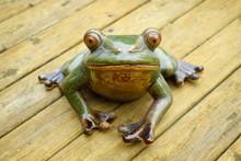 Ceramic Frog As Decoration In Garden