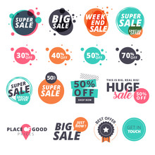 Set Of Flat Design Sale Stickers. Vector Illustrations For Online Shopping, Product Promotions, Website And Mobile Website Badges, Ads, Print Material.
