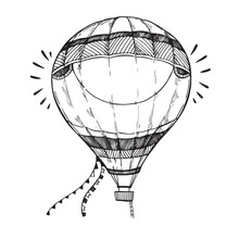 Hand Drawn Vector Illustration - Hot Air Balloon In The Sky. Ske
