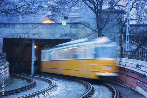 Tram in Budapest on a foggy morning Canvas Print