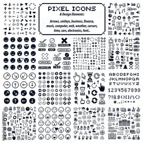 Zestaw znaków retro wektor wykonane w stylu sztuki pikseli. Różne geo