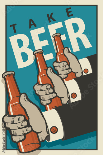 Three hands with bottles of beer in a retro style on a blue background Plakát