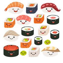 Emoji Sushi Characters.Cartoon Japanese Food. Vector Set Sushi Cartoon Characters. Funny Characters Sushi. Vector Illustration Isolated On White Background
