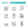 Thin line icons. Logistics