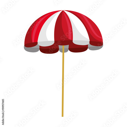 Red And White Beach Umbrella Over