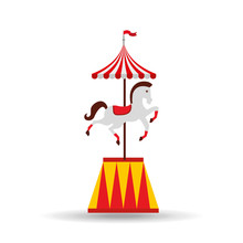 Carousel Horses Isolated Icon ...