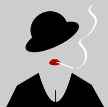 Woman Wearing Bowler Hat And Lipstick Smoking