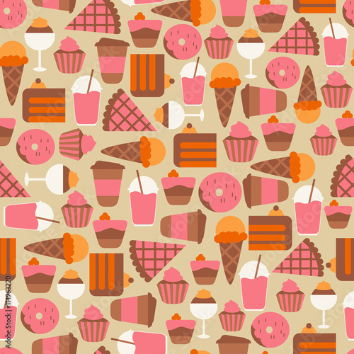 Cotton fabric Seamless Background with Sweets and Candies