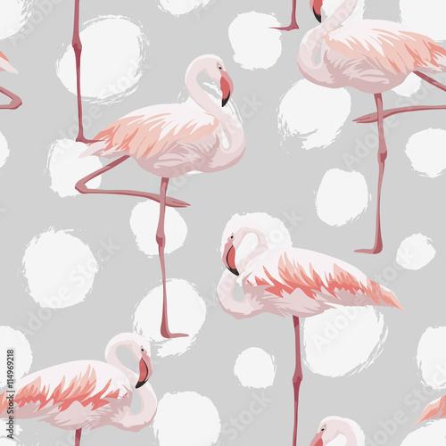 Canvas Prints Flamingo Bird Pink flamingo seamless pattern