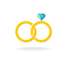 Wedding Rings Logo. Two Golden Crossed Rings With Blue Diamond.