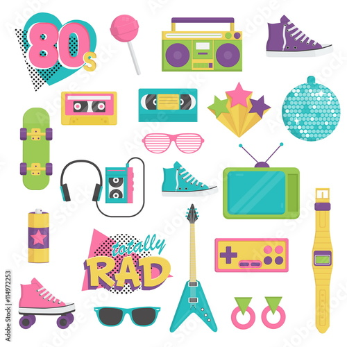 Collection of vintage retro 1980s style items that symbolize the 80s decade fashion accessories, style attributes, leisure items and innovations Canvas-taulu