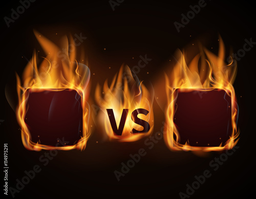 Versus screen with fire frames and vs letters. Flaming VS screen for ...