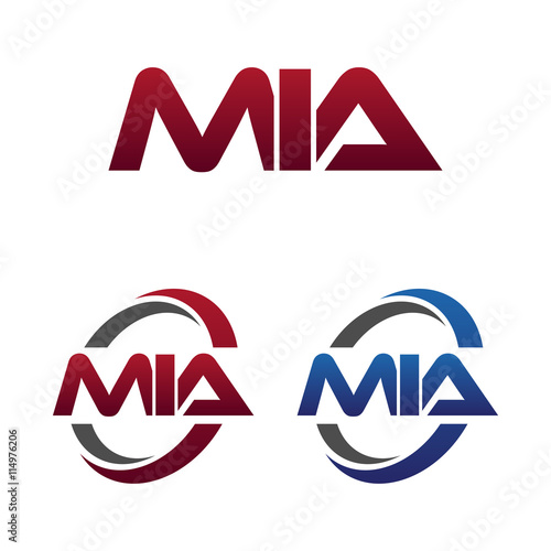 Photo  Modern 3 Letters Initial logo Vector Swoosh Red Blue mia