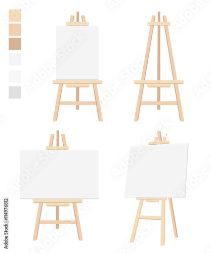 Fotografía Easel flat icon design vector illustration Blank Canvas on Painting chalk folding Isolated on white