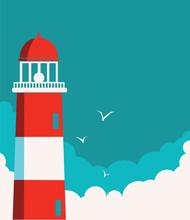 Lighthouse Poster.Vector Seasc...