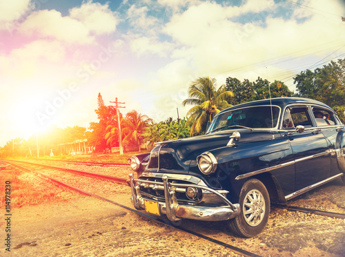 Photo  classic car in Havana, Cuba, filtered effect