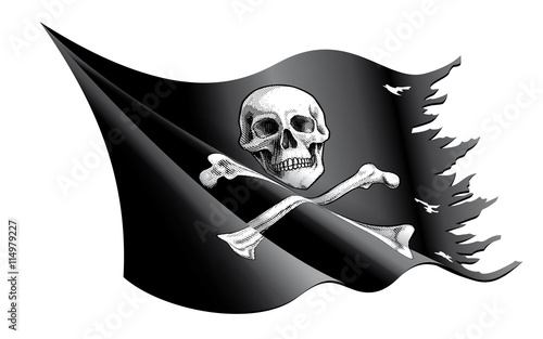 Photo  Pirate Flag with Skull and Crossbones