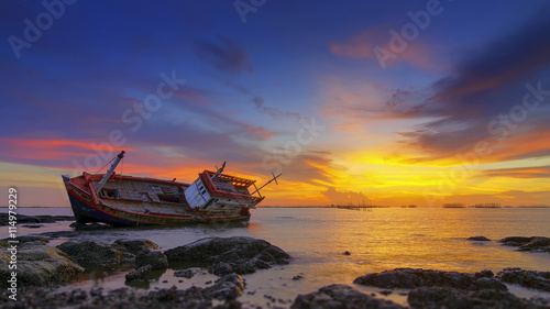 Acrylic Prints Shipwreck Old wrecked boat abandoned.