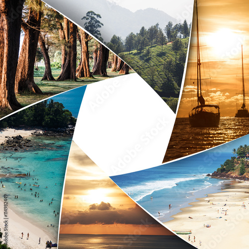 Obraz Collage of tropical seas with blank space - fototapety do salonu