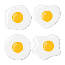 Fried Eggs Set. Isolated Eggs ...