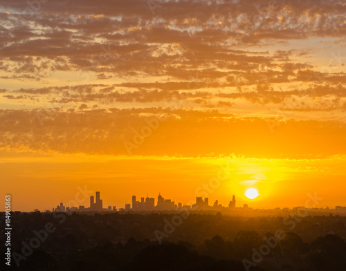 obraz dibond Melbourne cityscape at sunset