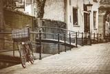 Retro stylizowany wizerunek holenderskiego miasta Gouda - 114986836