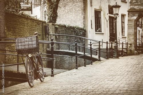Plakat Retro stylu obraz holenderskiego miasta Gouda
