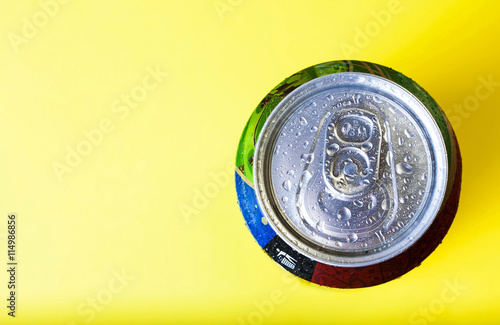 Fototapeta Top Part Of Beer Cans With Water Drops Close Up View