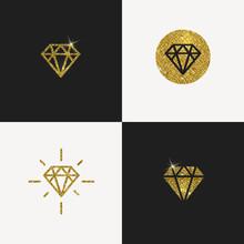Set Of Glitter Gold Diamond Emblems. Vector Illustration.