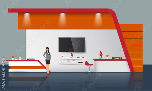 Creative Exhibition Stand Design Trade Booth Template Corporate - Photo booth design templates