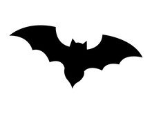 Bat Black Silhouette Icon Over...