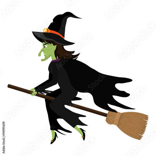 Fotografie, Obraz  Witch flying with broomstick cartoon silhouette, vector illustration