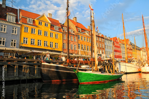 Photo  Green boat in Nyhavn - New Haven, Copenhagen, Denmark