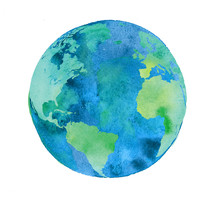 Hand Painted Earth Globe. Wate...